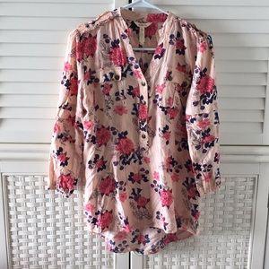 Matilda Jane womens 3/4 blouse top button m floral